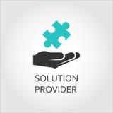 Aufkleber der Hand Puzzlespiel, Lösungsanbieterkonzept gebend Stockfoto