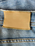 Aufkleber des Blue Jeans-freien Raumes Stockfoto