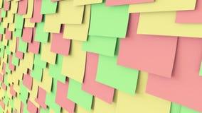 Aufkleber des farbigen Papiers auf der Wand Büroarbeits- oder -aufgabenanzeigenkonzepte nahtloser Abschluss der Schleife 4K herau stock video