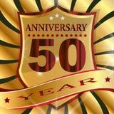 Aufkleber des Jahrestages 50. mit Band stock abbildung