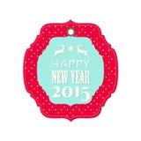 Aufkleber des neuen Jahres 2015 mit Ren Lizenzfreie Stockfotografie