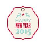 Aufkleber des neuen Jahres 2015 mit Ren Stockfoto