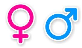 Aufkleber des rosa und blauen Frau- und Geschlechtssymbols Stockbilder