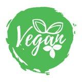 Aufkleber des strengen Vegetariers Gesund und biologisches Lebensmittel Guss mit Bürste Lebensmittel Int stock abbildung