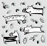 Aufkleber eingestellt mit netten Ebern Sammlung mit wilden Schweinen und acor Lizenzfreie Stockbilder