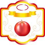 Aufkleber für Apfel, süße Frucht auf Verpackung, ein Aufkleber für Wein, ein Emblem für Kochenapfel, ein dekoratives Element, Ver Stockbilder