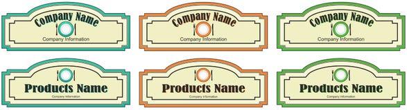 Aufkleber für das Produkt oder die Firma stock abbildung