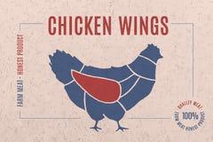 Aufkleber für Fleisch mit Text Hühnerflügeln Stockbild