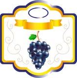 Aufkleber für Stautraube, süße Frucht auf Verpackung, ein Aufkleber für Wein, ein Emblem für Kochen von Trauben, ein dekoratives  Lizenzfreies Stockfoto