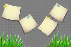 Aufkleber für Text mit Gras auf einem einfachen Hintergrund Lizenzfreie Stockfotografie