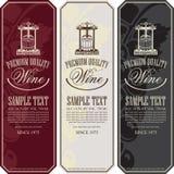 Aufkleber für Wein mit einer Kelterei und Trauben vektor abbildung