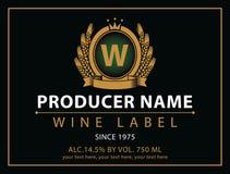 Aufkleber für Wein mit Trauben lizenzfreie abbildung
