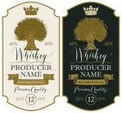 Aufkleber für Whisky mit Krone und Eiche lizenzfreie abbildung