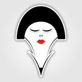 Aufkleber - Frau mit dem kurzen schwarzen Haar und den roten Lippen Lizenzfreie Stockbilder