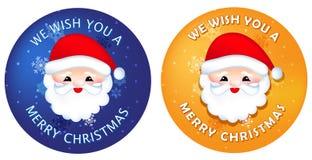 Aufkleber/Knöpfe der frohen Weihnachten Stockfotografie