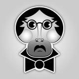 Aufkleber - Mann mit Gläsern, dem Schnurrbart und Fliege Lizenzfreie Stockfotos