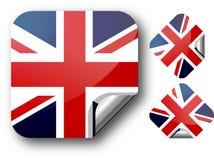 Aufkleber mit BRITISCHER Markierungsfahne Stockbilder