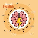 Aufkleber mit dem Gesundheitsgehirn kreativ mit Donner vektor abbildung