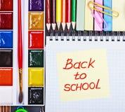 Aufkleber mit den Wörtern zurück zu Schule Lizenzfreie Stockfotos
