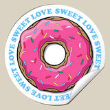 Aufkleber mit Donut. Lizenzfreie Stockbilder