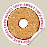 Aufkleber mit Donut. Stockfotografie