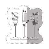 Aufkleber mit Grayscalekontur mit den Glüh- und Leuchtstoffbirnen mit Stamm und Blättern lizenzfreie abbildung
