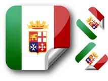 Aufkleber mit Italien-Markierungsfahne. Stockfotos