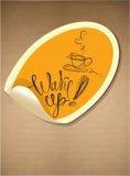 Aufkleber mit Kaffeetasseikone und Hand gezeichnetem calligra Stockfotografie