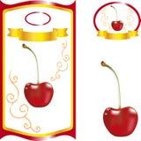 Aufkleber mit Kirsche, süße Kirsche für Saftverpackung Stockbild