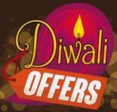 Aufkleber mit Paisley-Design und Tag für Diwali-Angebote, Vektor-Illustration Lizenzfreies Stockbild