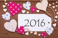 Aufkleber mit rosa Herzen, Text 2016 Stockbild