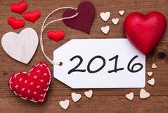 Aufkleber mit roten Herzen und Text 2016 Lizenzfreie Stockfotografie