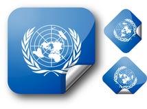 Aufkleber mit UNO-Markierungsfahne Lizenzfreies Stockfoto