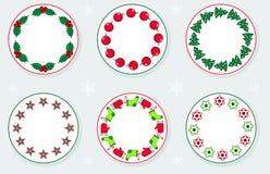 Aufkleber mit Weihnachtskränzen Stockbild