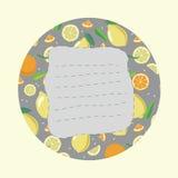Aufkleber mit Zitrusfrucht Lizenzfreies Stockbild