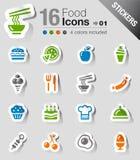Aufkleber - Nahrungsmittelikonen Lizenzfreie Stockfotos