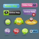 Aufkleber-Schablonenfahne der bunten Websiteonline-hilfe-Knopfdesignvektorillustration glatte grafische Lizenzfreies Stockbild