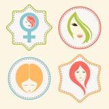 Aufkleber, Tag oder Aufkleber für den Tag der internationalen Frauen Lizenzfreie Stockfotografie