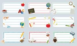 Aufkleber transportieren und Gegenstände für Schule Stockbilder