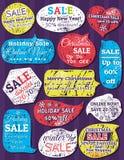 Aufkleber und Fahnen für Weihnachten Lizenzfreie Stockfotos