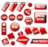Aufkleber und Verkaufs-Marken Stockfotos