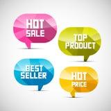 Aufkleber Verkaufsschlager, Spitzenprodukt, heißer Verkauf, Preis Stockbild