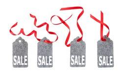 Aufkleber vom Graufilz Verkaufsaufkleber vom Graufilz lokalisiert auf weißem Hintergrund Stockbild