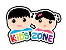 Aufkleber von den Kindern teilen Symbol lokalisiert auf weißem Hintergrund in Zonen auf lizenzfreie stockbilder