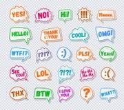 Aufkleber von Spracheblasen stellten mit Zeichen - hallo ja nein, ich liebe dich ein lizenzfreie abbildung
