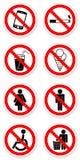Aufkleber von verbotenen Symbolen Stockbild