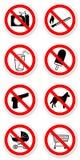 Aufkleber von verbotenen Symbolen Stockfoto