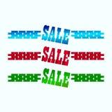 Aufkleber von verschiedenen Farben auf einem hellen Hintergrund für den Verkauf Stockfotografie