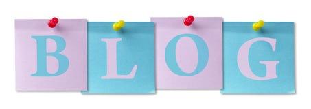 4 Aufkleberanmerkungen Blog Stockfoto