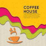 Aufkleberaufkleberart-Kaffeehintergrund Stockbilder